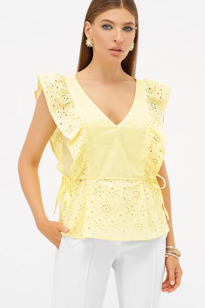 голубая летняя блузка. блуза Илари б/р. Цвет: желтый