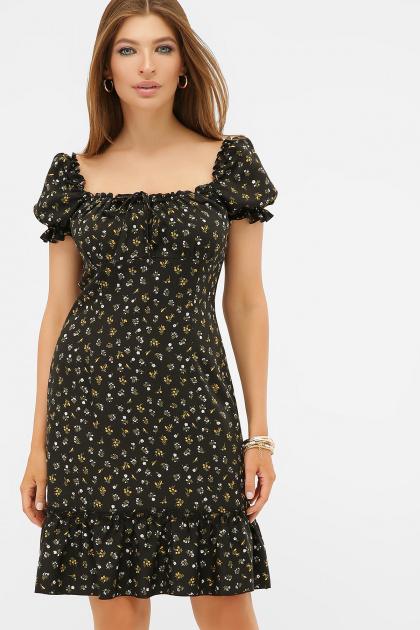 цветочное платье в деревенском стиле. платье Даная к/р. Цвет: черный-м. цветы