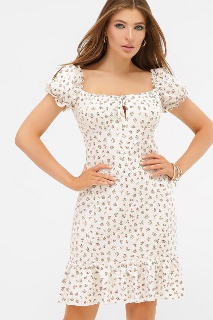цветочное платье в деревенском стиле. платье Даная к/р. Цвет: белый-м.цветы