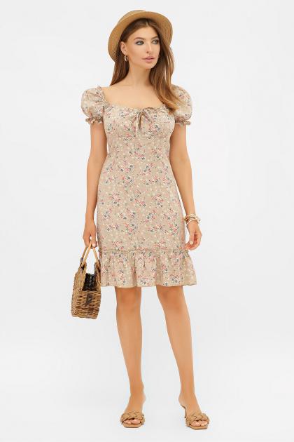 цветочное платье в деревенском стиле. платье Даная к/р. Цвет: бежевый-м.букет