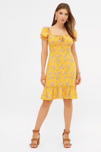 цветочное платье в деревенском стиле. платье Даная к/р. Цвет: желтый-м.букет