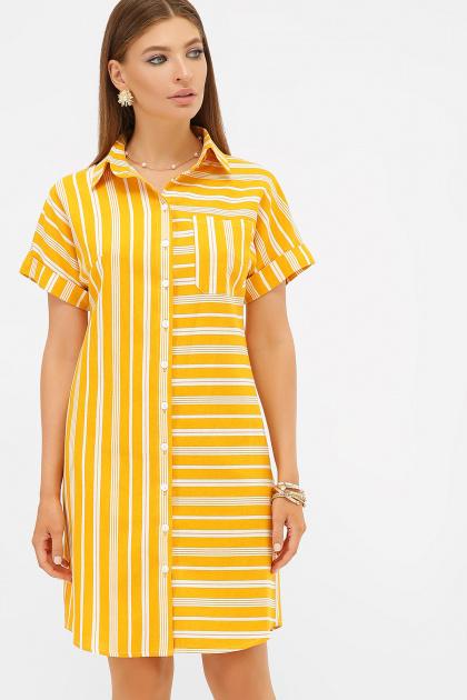 . платье-рубашка Филена к/р. Цвет: горчица-белая полоса1
