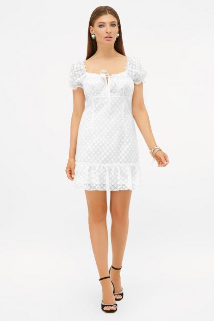 короткое белое платье. платье Даина к/р. Цвет: белый горох