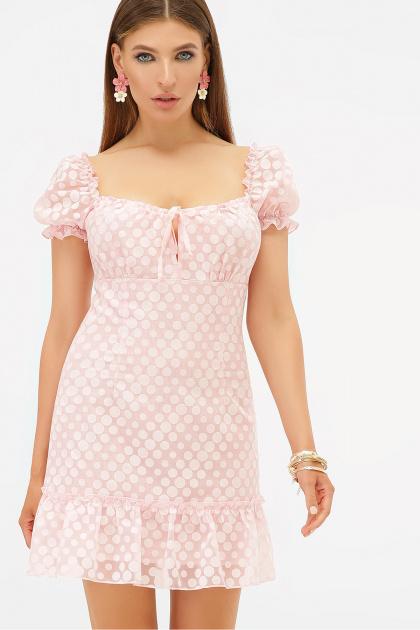 короткое белое платье. платье Даина к/р. Цвет: розовый горох