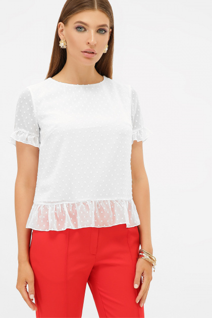 шифоновая белая блузка. блуза Диас к/р. Цвет: белый