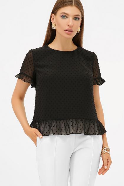 шифоновая белая блузка. блуза Диас к/р. Цвет: черный