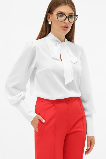 белая блузка с бантом. блуза Дарла д/р. Цвет: белый
