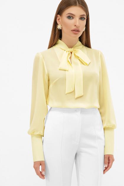 белая блузка с бантом. блуза Дарла д/р. Цвет: ваниль