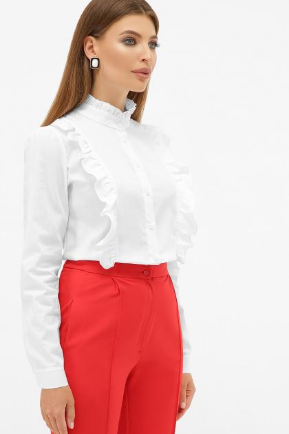 белая блузка с рюшами. блуза Мэнди д/р. Цвет: белый