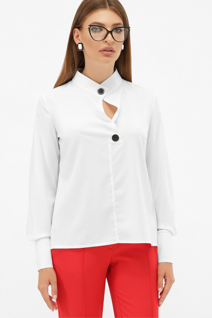 белая блузка с воротником стойка. блуза Фиби д/р. Цвет: белый