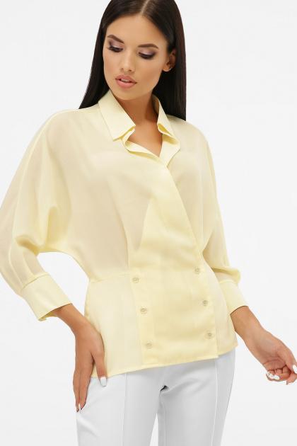 белая блузка на пуговицах. блуза Риона 3/4. Цвет: ваниль