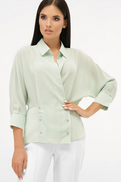 белая блузка на пуговицах. блуза Риона 3/4. Цвет: оливковый