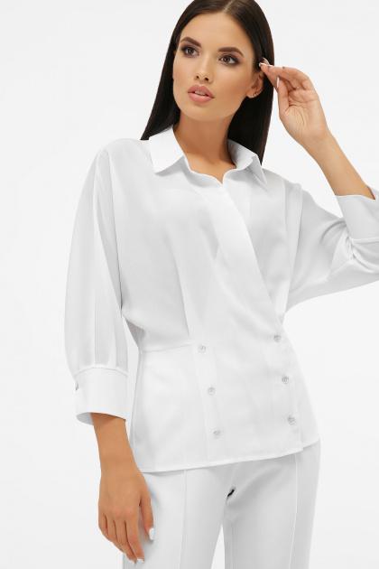 белая блузка на пуговицах. блуза Риона 3/4. Цвет: белый