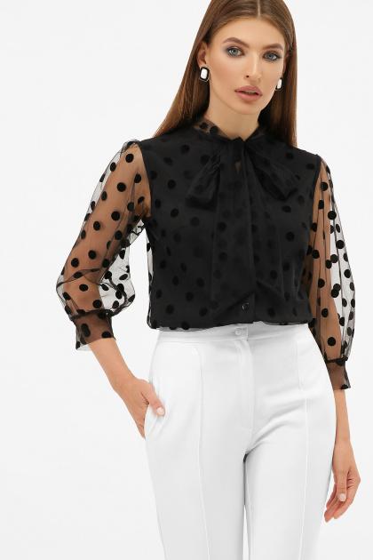голубая прозрачная блузка. блуза Ладонна 3/4. Цвет: черный