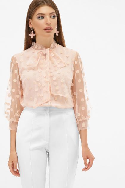 голубая прозрачная блузка. блуза Ладонна 3/4. Цвет: персик