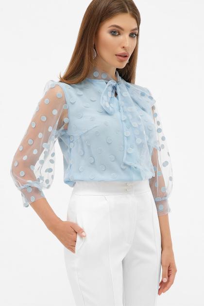 голубая прозрачная блузка. блуза Ладонна 3/4. Цвет: голубой