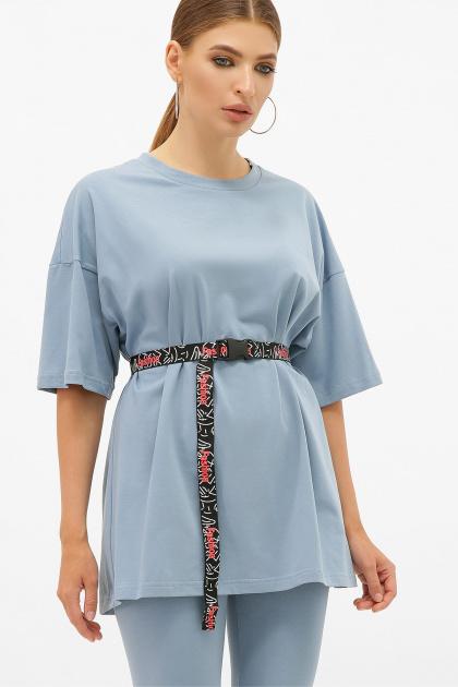 синяя удлиненная футболка. футболка Хизер. Цвет: джинс