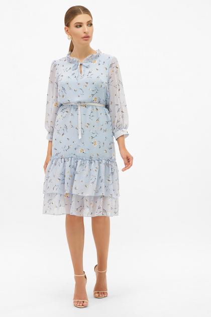 платье хаки из шифона. Платье Элисон 3/4. Цвет: голубой-цветы
