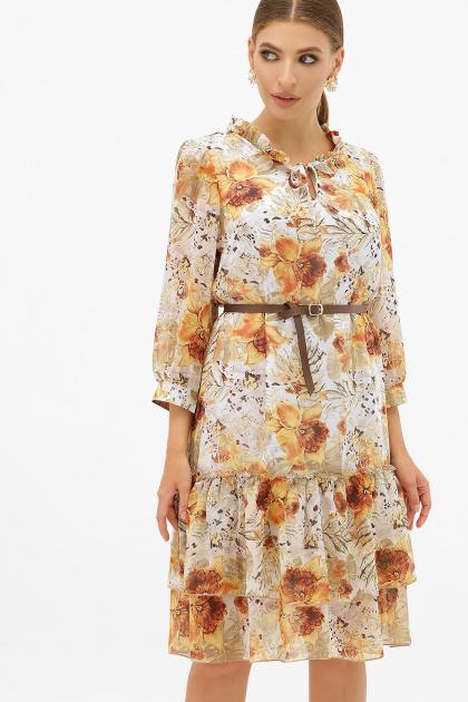 платье хаки из шифона. Платье Элисон 3/4. Цвет: белый-цветы оранж.