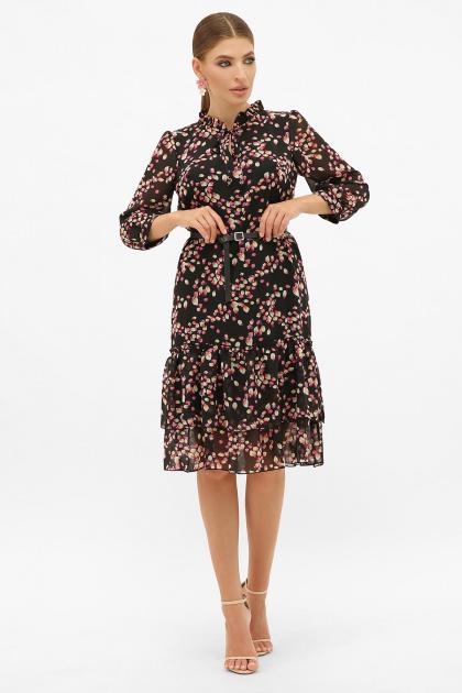 платье хаки из шифона. Платье Элисон 3/4. Цвет: черный-лепестки