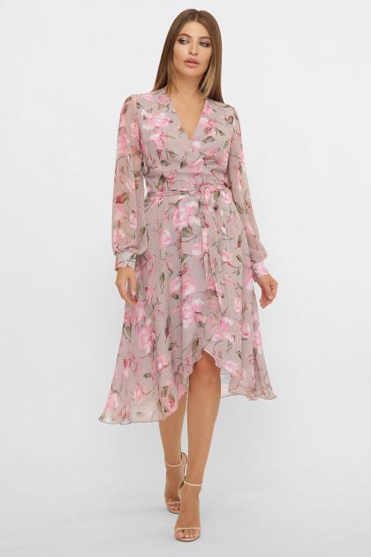 нежное платье на запах. Платье Алеста д/р. Цвет: капучино-розы розов.