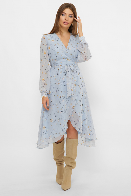 нежное платье на запах. Платье Алеста д/р. Цвет: голубой-цветы
