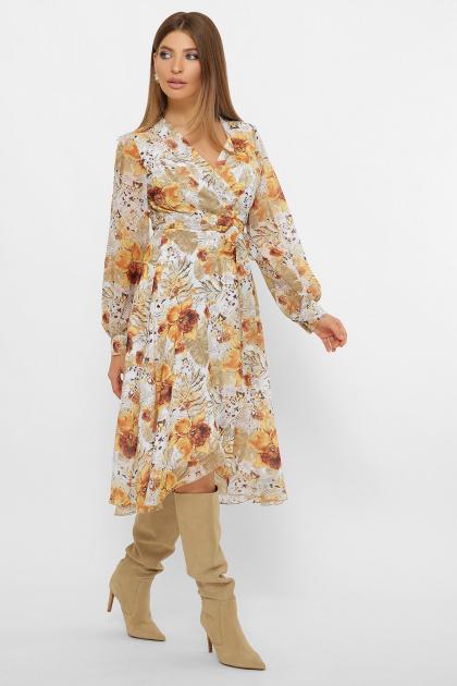 нежное платье на запах. Платье Алеста д/р. Цвет: белый-цветы оранж.