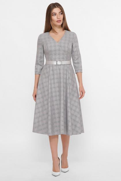 . платье Киана д/р. Цвет: клетка серый-розовый