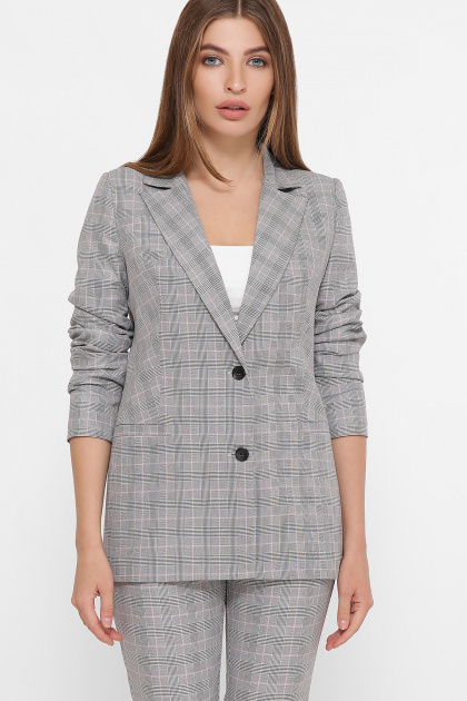 . пиджак Патрик К. Цвет: серый-розовая клетка