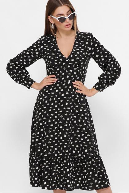 синее платье с цветочным принтом. платье Данита д/р. Цвет: черный-белый м.цветок