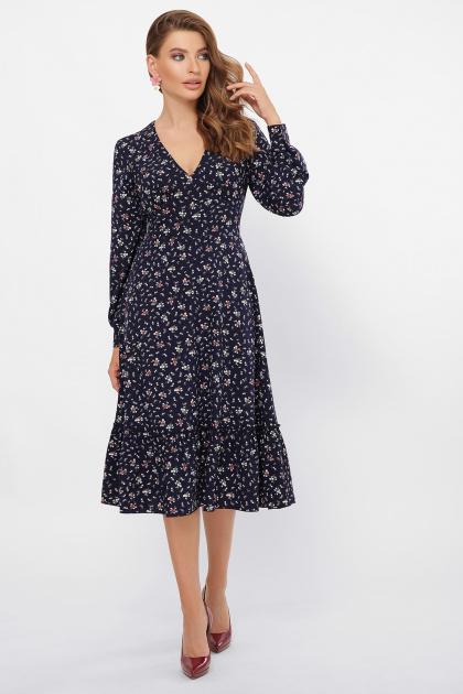 синее платье с цветочным принтом. платье Данита д/р. Цвет: синий-букетик