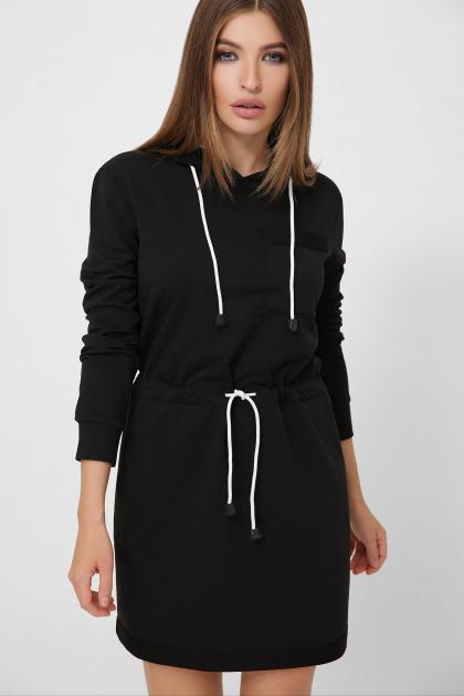 черное платье спортивного стиля. Платье Кити д/р. Цвет: черный