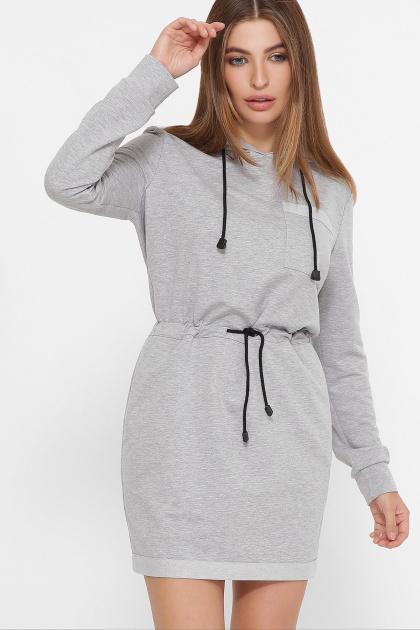 черное платье спортивного стиля. Платье Кити д/р. Цвет: серый меланж