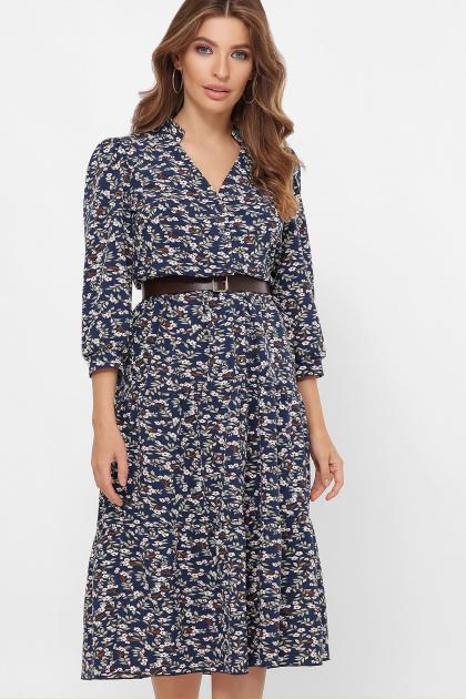 . платье Мэдисон 3/4. Цвет: синий-м. цветы