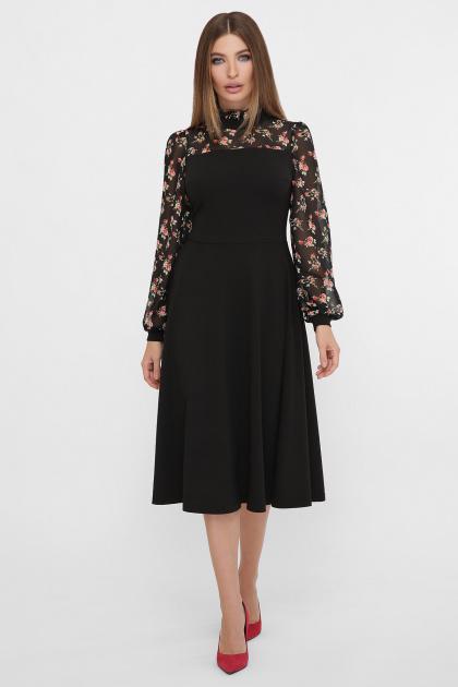 черное платье с цветами. Платье Алтея д/р. Цвет: черный