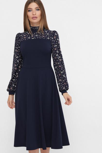 черное платье с цветами. Платье Алтея д/р. Цвет: синий