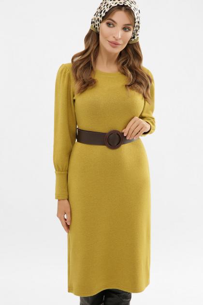 терракотовое платье из ангоры. Платье Жизель д/р. Цвет: горчица