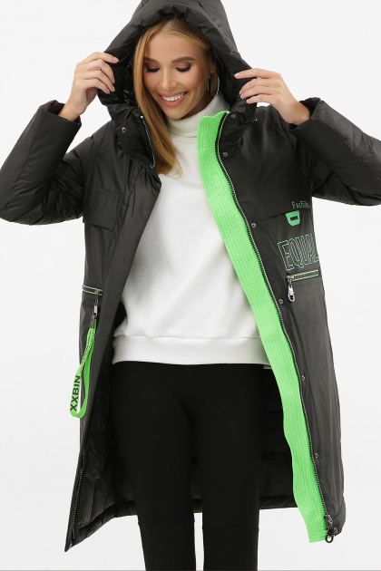. Куртка 297. Колір: 01-черный-зеленый
