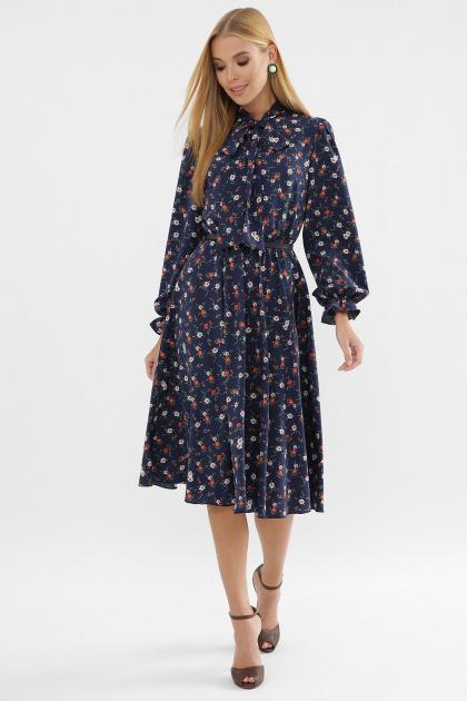. Платье Дельфия д/р. Цвет: синий-оранж.м.цветок