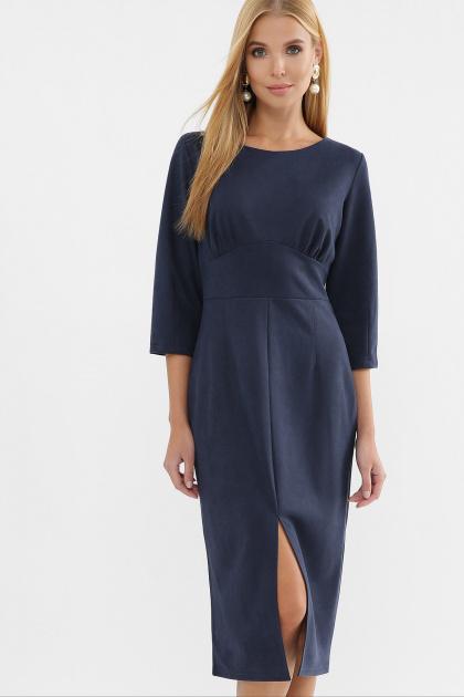 серое платье из замши. Платье Констанция 3/4. Цвет: синий