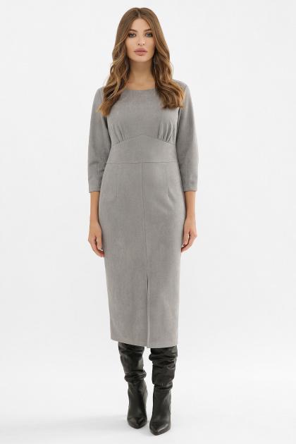 серое платье из замши. Платье Констанция 3/4. Цвет: серый