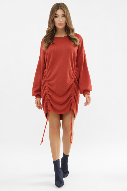 терракотовое платье с длинным рукавом. Платье Диля д/р. Цвет: терракот