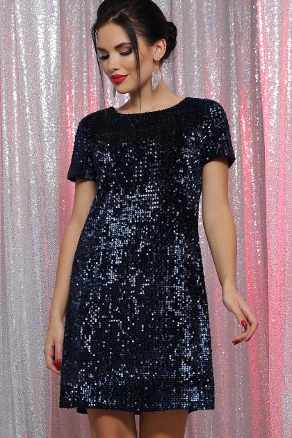 черное платье с пайетками. Платье Ираида к/р. Цвет: синий-синий