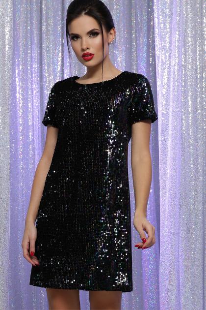 черное платье с пайетками. Платье Ираида к/р. Цвет: черный-хамелеон