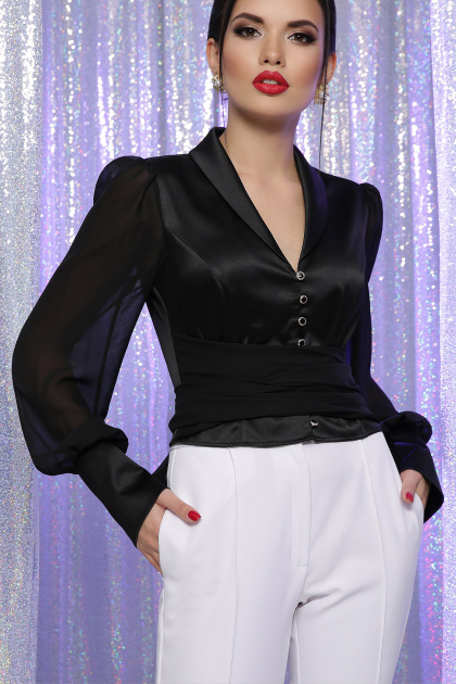 белая блузка с бантом. блуза Аврил д/р. Цвет: черный