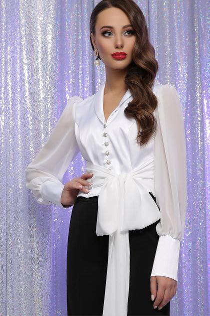 белая блузка с бантом. блуза Аврил д/р. Цвет: белый