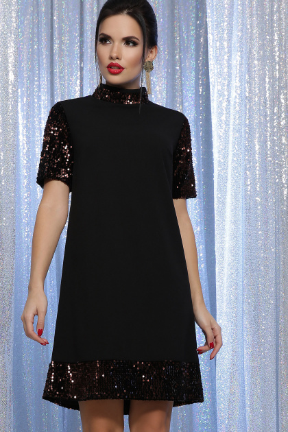 платье трапеция с пайетками. платье Бетти к/р. Цвет: черный-бронза