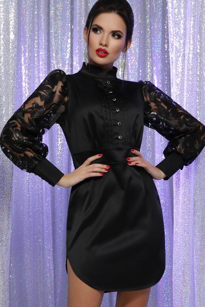 красное атласное платье. платье Киприда д/р. Цвет: черный