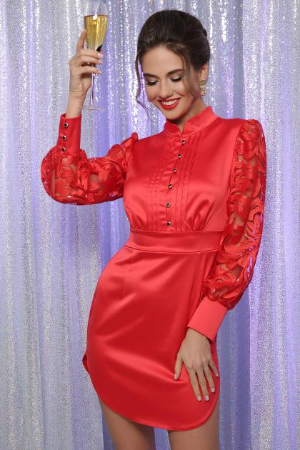 красное атласное платье. платье Киприда д/р. Цвет: красный