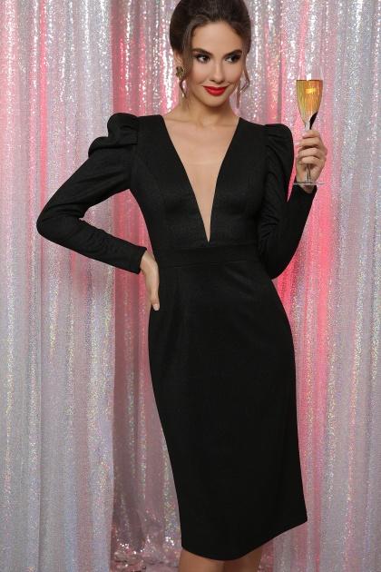 черное платье с глубоким вырезом. платье Солли д/р. Цвет: черный